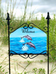 Heritage Gallery Two Dolphins Welcome Garden Sign