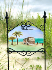 Heritage Gallery RV Retire Welcome Garden Sign