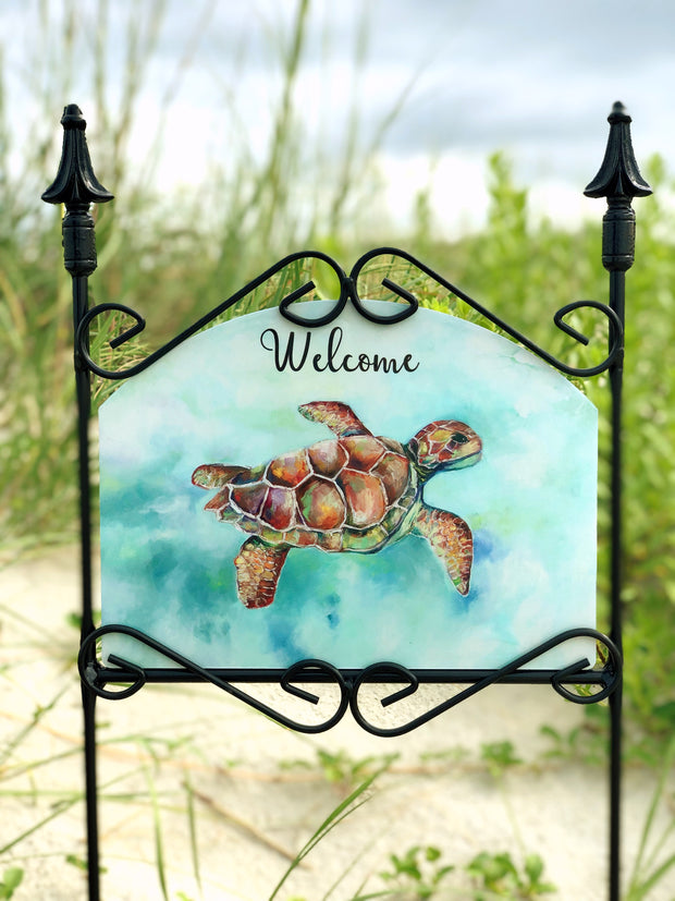 Heritage Gallery Sea Turtle Welcome Garden Sign