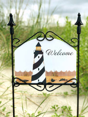 Heritage Gallery Black & White Lighthouse Garden sign