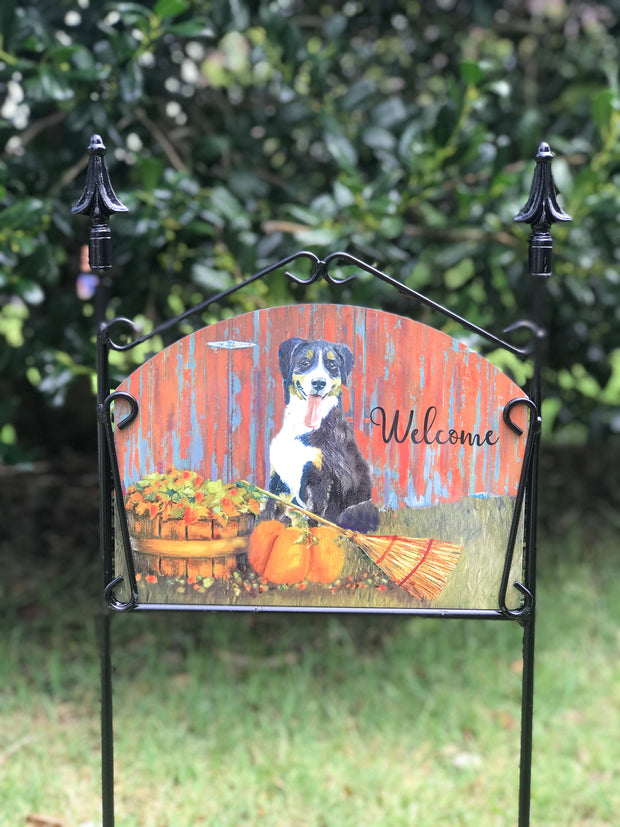 Fall Dog with Broom Welcome Garden Sign
