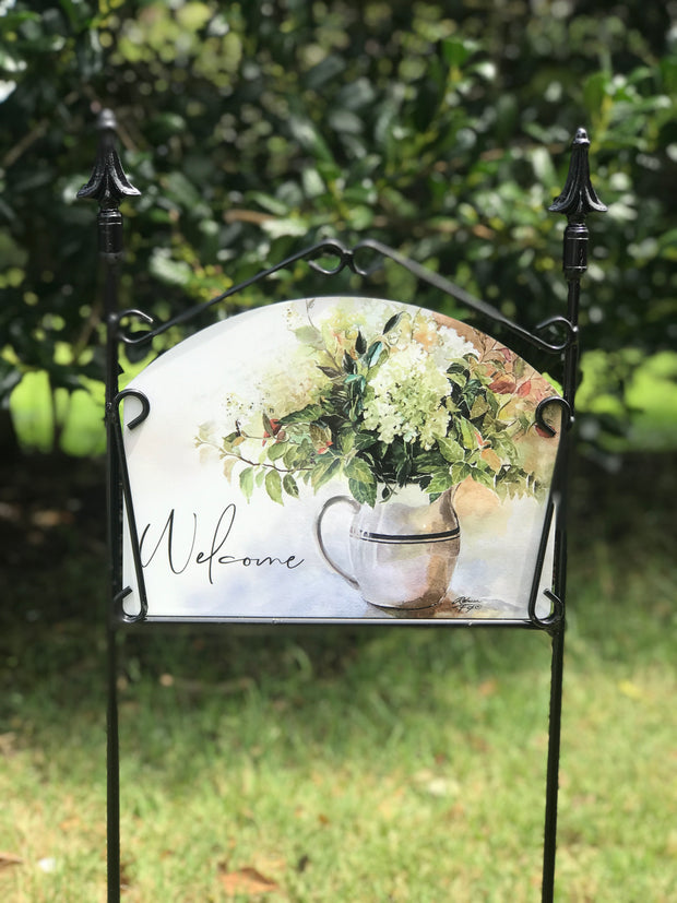White Hydrangea Welcome Garden Sign