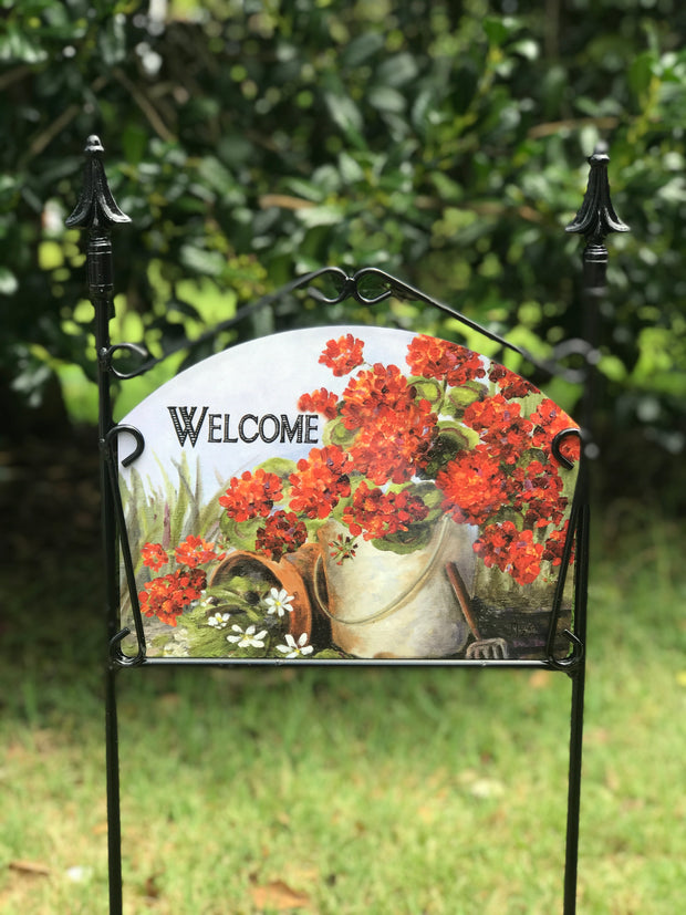 Geranium Pail Welcome Garden Sign