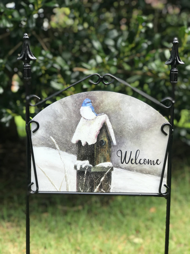 Snow Bluebird Welcome Garden Sign