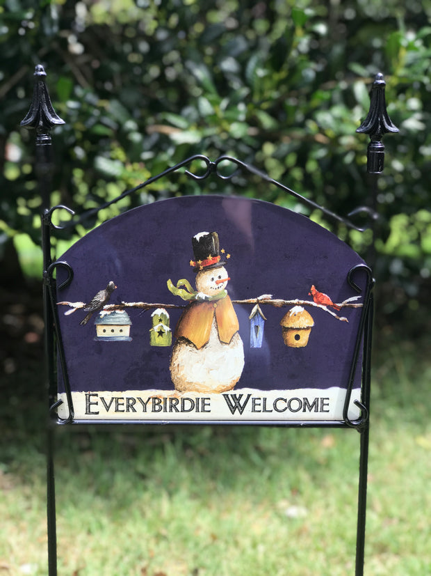 Everybirdie Welcome Navy Garden Sign