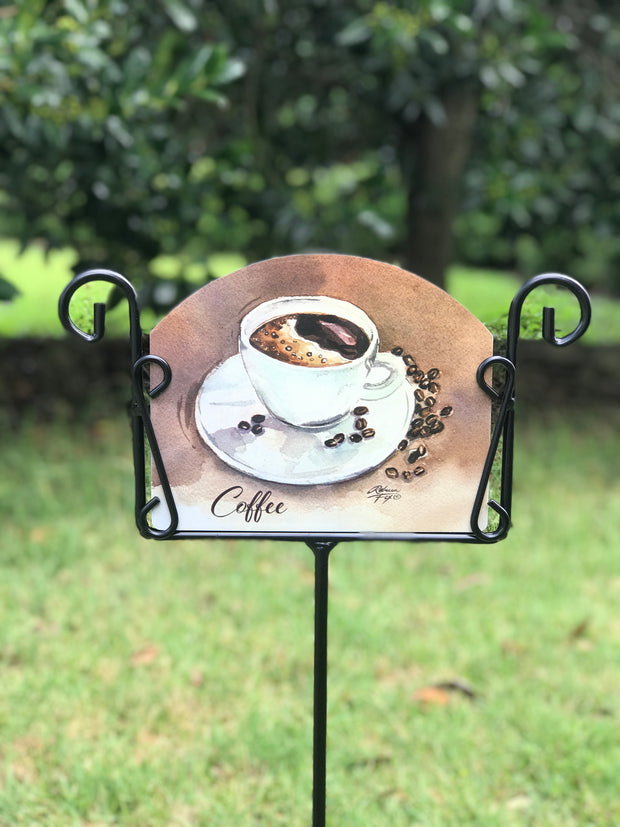 Coffee Mug Garden Sign