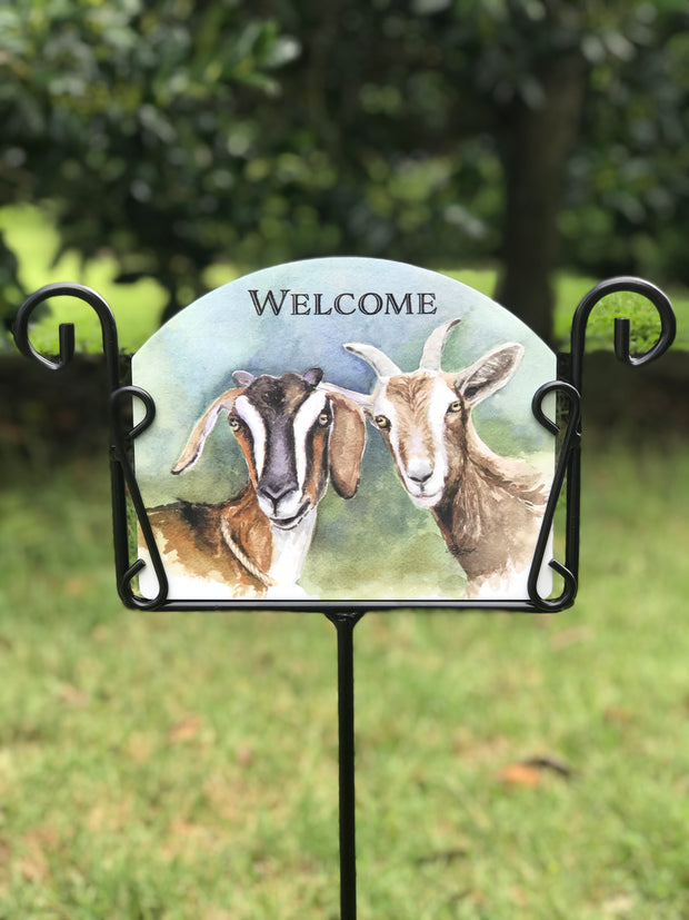 Goats Welcome Garden Sign
