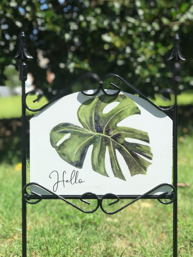 Philodendron Hello Garden Sign