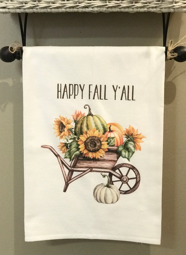 Fall Wheelbarrow Flour Sack Towel