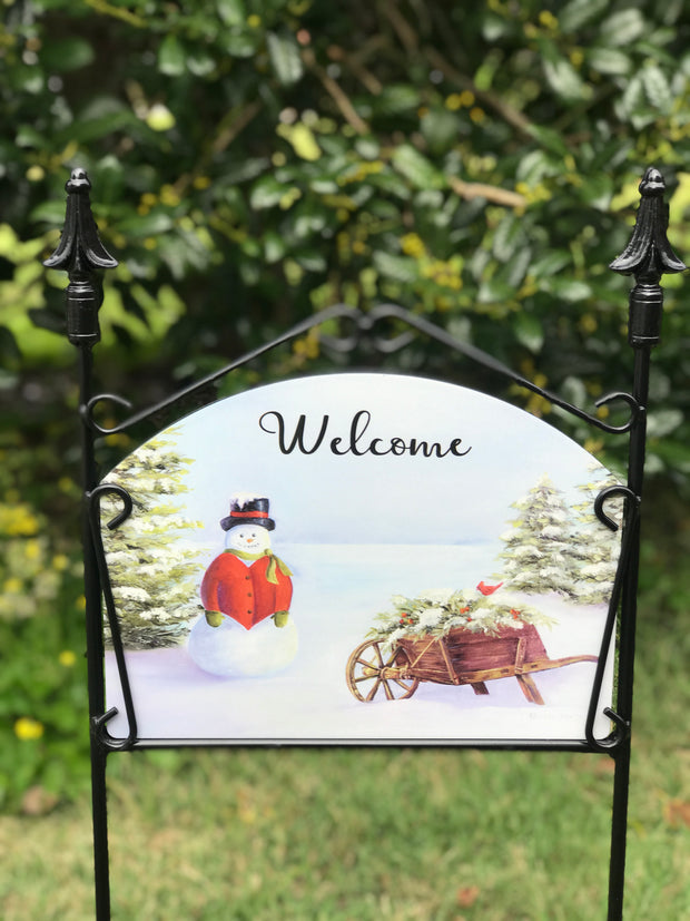 Wheelbarrow Snowman Welcome Garden Sign