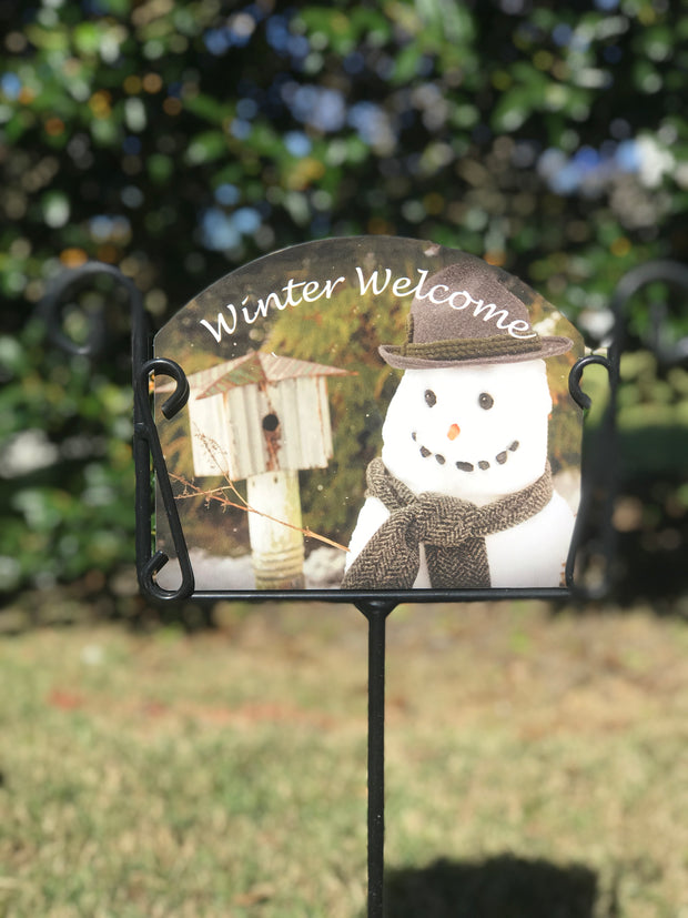 Max the Snowman Welcome Garden Sign