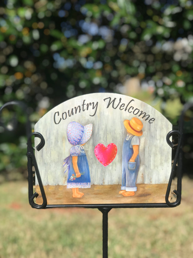 Mike & Ruthann Country Welcome Garden Sign
