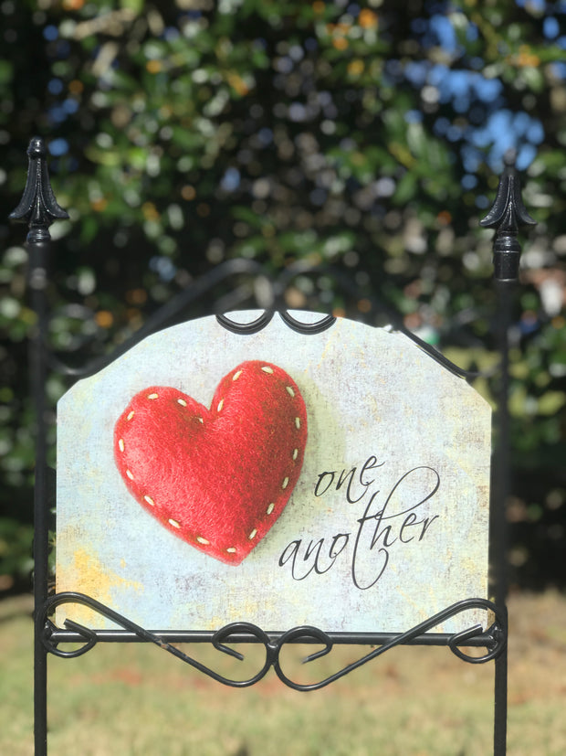 "Felt Heart ""Love One Another"" Garden Sign"