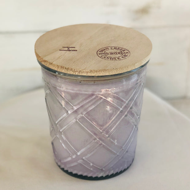 Swan Creek Candle Co. Timeless Glass Collection, 28 oz Jar with Lid, Lavender & Lemongrass