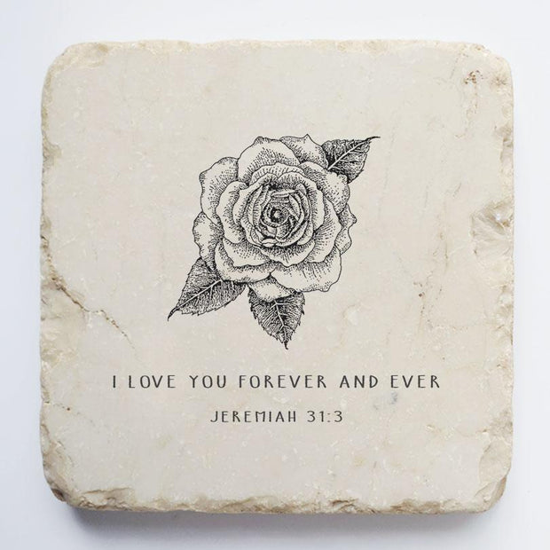 Twelve Stone Art Jeremiah 31:3 Scripture Stone, Small Block