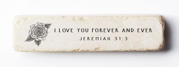 Twelve Stone Art Jeremiah 31:3 Scripture Stone, Quarter Block