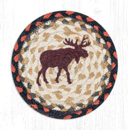 "Capitol Earth Rugs Individual Printed Braided Jute 7"" Coaster, Moose"