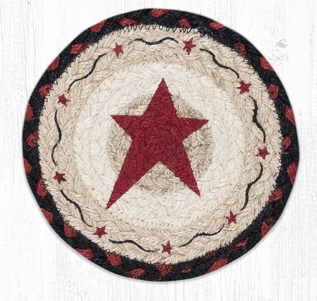 "Capitol Earth Rugs Individual Printed Braided Jute 7"" Coaster, Burgundy Primitive Star"