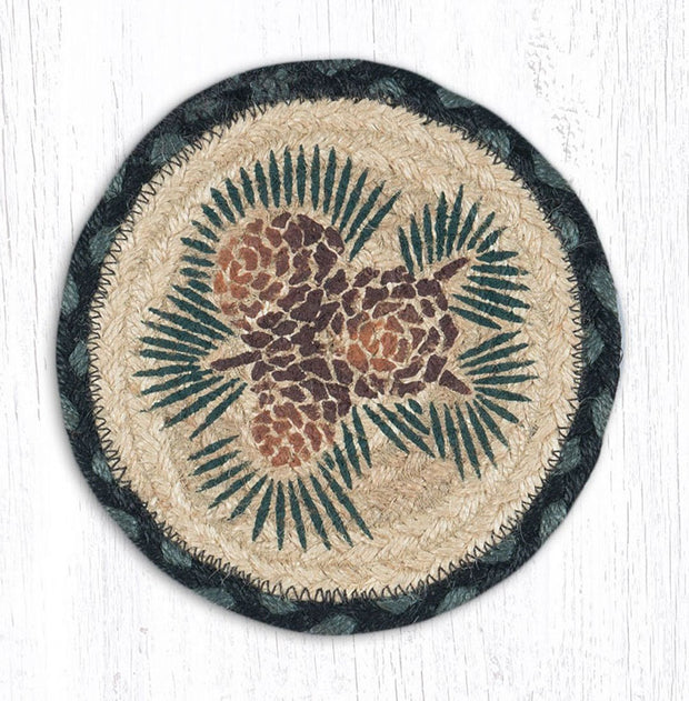 "Capitol Earth Rugs Individual Printed Braided Jute 7"" Coaster, Pinecone"