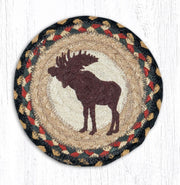 "Capitol Earth Rugs Individual Printed Braided Jute 7"" Coaster, Bull Moose"