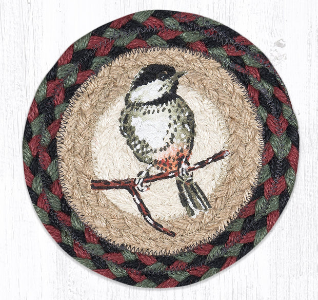 "Capitol Earth Rugs Individual Printed Braided Jute 7"" Coaster, Chickadee"