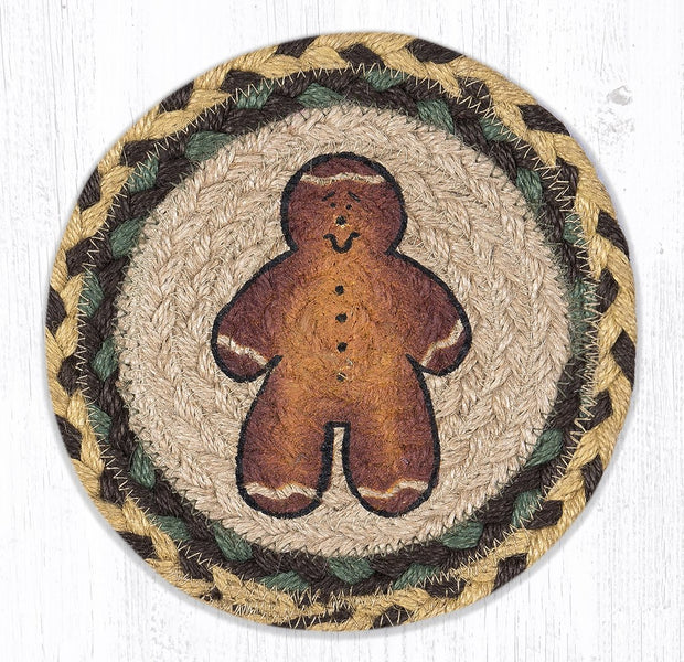 "Capitol Earth Rugs Individual Printed Braided Jute 7"" Coaster, Gingerbread Man"