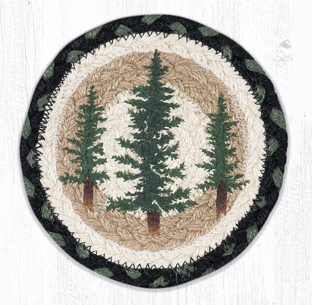 "Capitol Earth Rugs Individual Printed Braided Jute 7"" Coaster, Tall Timbers"
