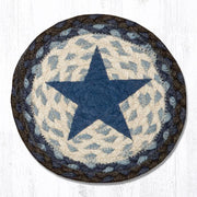 "Capitol Earth Rugs Individual Printed Braided Jute 7"" Coaster, Blue Star"