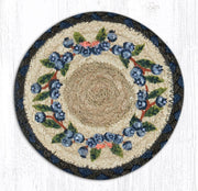 "Capitol Earth Rugs Individual Printed Braided Jute 7"" Coaster, Blueberry Vine"