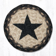 "Capitol Earth Rugs Individual Printed Braided Jute 7"" Coaster, Black Star"