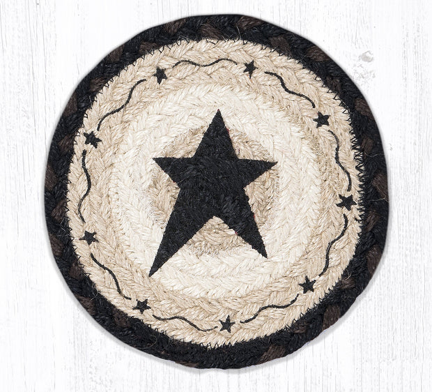 "Capitol Earth Rugs Individual Printed Braided Jute 7"" Coaster, Black Primitive Star"