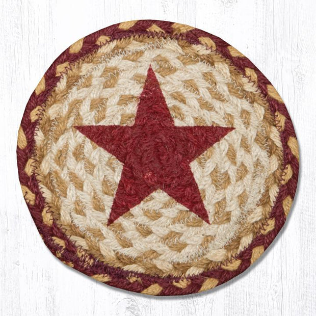 "Capitol Earth Rugs Individual Printed Braided Jute 7"" Coaster, Burgundy Star"