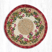 "Capitol Earth Rugs Individual Printed Braided Jute 7"" Coaster, Cranberries"