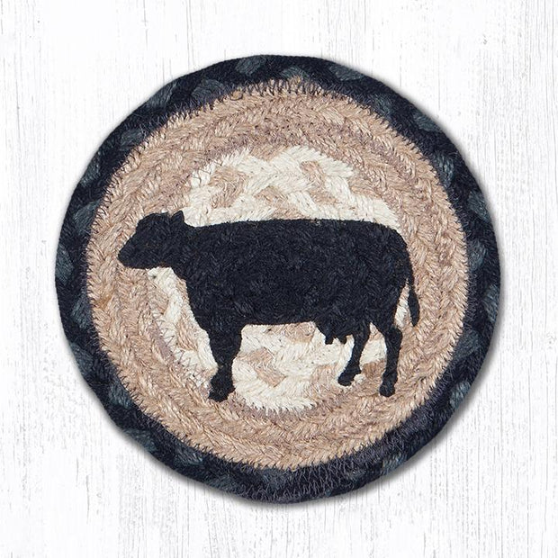 "Capitol Earth Rugs Individual Printed Braided Jute 7"" Coaster, Cow Silhouette"