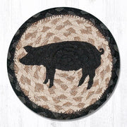 "Capitol Earth Rugs Individual Printed Braided Jute 7"" Coaster, Pig Silhouette"