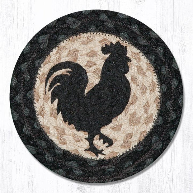 "Capitol Earth Rugs Individual Printed Braided Jute 7"" Coaster, Rooster Silhouette"