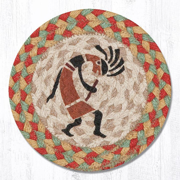 "Capitol Earth Rugs Individual Printed Braided Jute 7"" Coaster, Kokopelli"