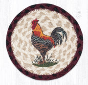 "Capitol Earth Rugs Individual Printed Braided Jute 7"" Coaster, Rustic Rooster"