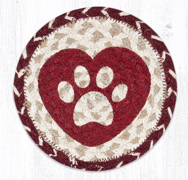 "Capitol Earth Rugs Individual Printed Braided Jute 7"" Coaster, Heart Paw"