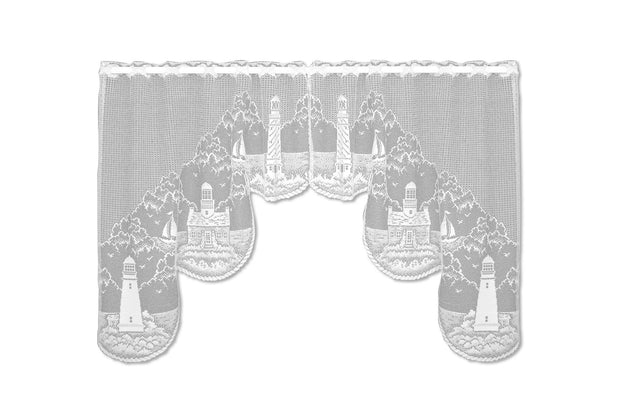 "Heritage Lace Lighthouse 72""x 32"" Swag Pair - White"