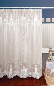 Heritage Lace Lighthouse Shower Curtain - White