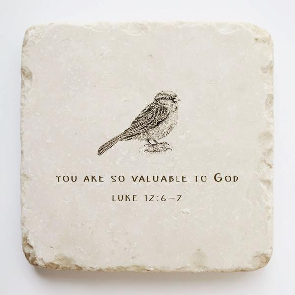 Twelve Stone Arte Luke 12:6-7 Scripture Stone with Bird