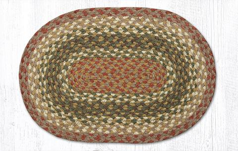 "Capitol Earth Rugs Jute Braided Table Accent/Miniature Swatches, 7.5"" x 11"" Oval, Olive/Burgundy/Grey"