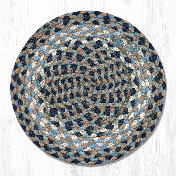 "Braided Jute Trivets/Miniature Swatches, 10"" Round, Blue Natural"