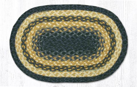 "Capitol Earth Rugs Table Accent/Miniature Swatch, 10"" x 15"" Oval, Color: Light & Dark Blue/Mustard"