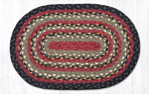 "Capitol Earth Rugs Table Accent/Miniature Swatch, 10"" x 15"" Oval, Color: Burgundy/Olive/Charcoal"