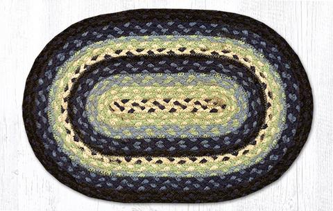 "Capitol Earth Rugs Table Accent/Miniature Swatch, 10"" x 15"" Oval, Color: Blueberry/Cream"