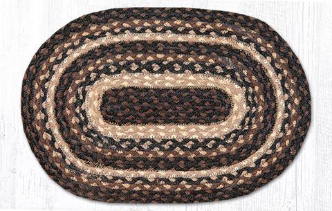 "Capitol Earth RugJute Braided Table Accent/Miniature Swatches, 7.5"" x 11"" Oval, Mocha/Frappuccino"