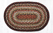 "Capitol Earth Rugs Table Accent/Miniature Swatch, 10"" x 15"" Oval, Color: Burgundy/Mustard/Ivory"