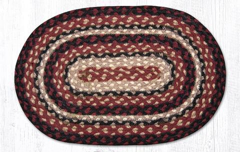 "Capitol Earth Rugs Table Accent/Miniature Swatch, 10"" x 15"" Oval, Color: Burgundy/Black/Tan"